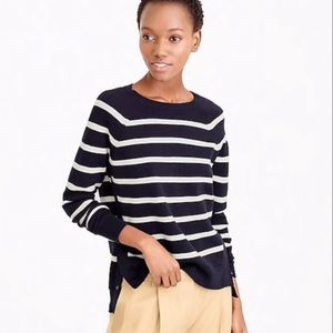 J. Crew Striped Sweater with Side Snaps